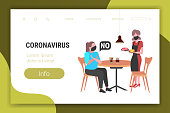 woman in mask doing cross arms say no to waitress with meat and burger to prevent coronavirus epidemic MERS-CoV virus wuhan 2019-nCoV health risk concept copy space full length horizontal vector illustration