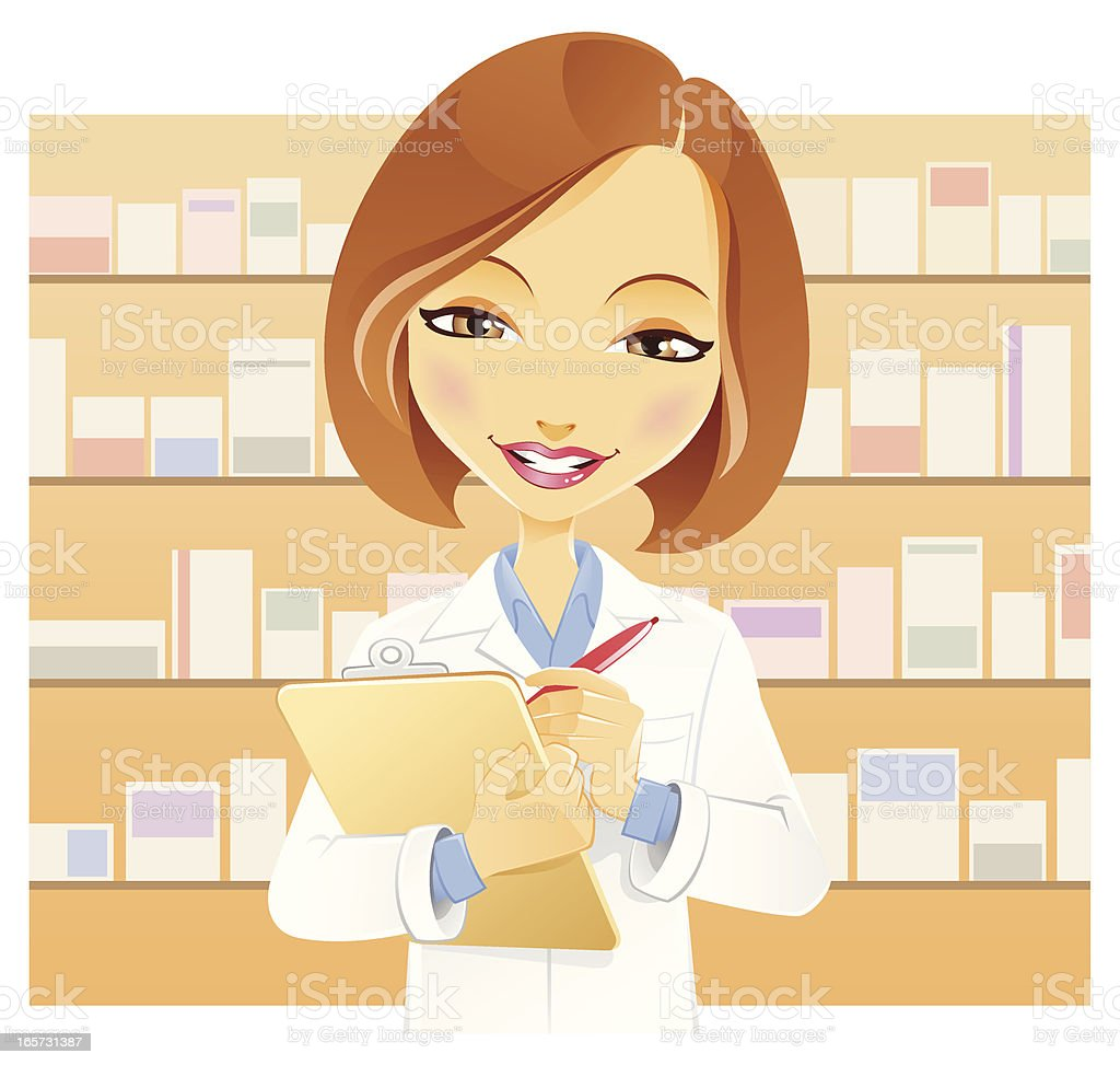 Woman in Medical Lab Coat with Clipboard royalty-free stock vector art