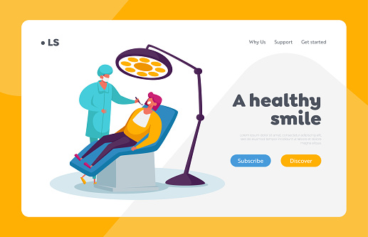 Woman in Medical Stomatologist Cabinet Landing Page Template. Doctor Dentist Character Conducting Health Check Up