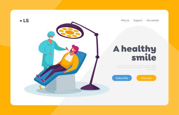 stockillustraties, clipart, cartoons en iconen met vrouw in medische stomatologist kabinet landing page template. arts tandarts karakter uitvoeren van health check up - streptococcus mutans