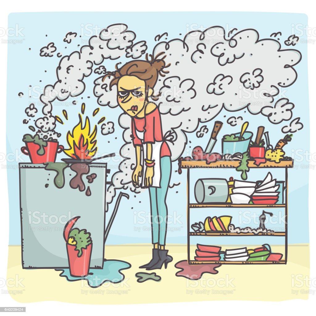 Woman in messy kitchen - Royalty-free Acidente - Conceito Ilustração de stock