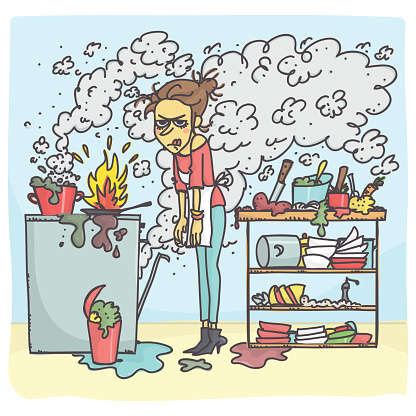 Woman In Messy Kitchen - Arte vetorial de stock e mais imagens de Acidente - Conceito