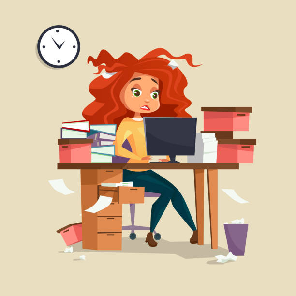Woman in office stress vector illustration of cartoon girl manager working deadline overwork with disheveled messy hair Woman in office stress vector illustration of cartoon girl manager working on computer with disheveled messy hair and documents piles. Overwork and deadline office work concept overworked stock illustrations