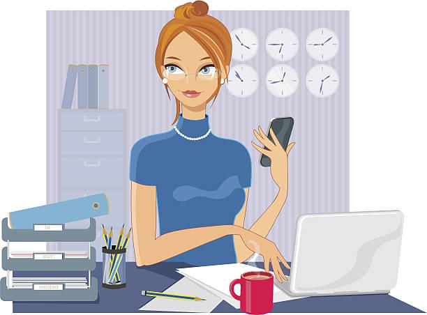 stockillustraties, clipart, cartoons en iconen met woman in office - business woman phone