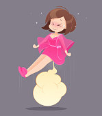 Cute woman in pink nightgown farting with blank balloon out from her bottom against gray background, Vector,  Funny face cartoon, Illustration