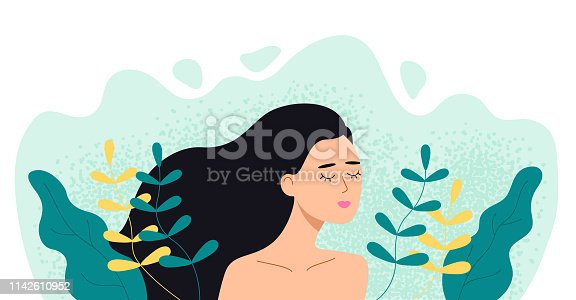Woman in plants and leaves. Girl with closed eyes in nature. Vector flat illustration.