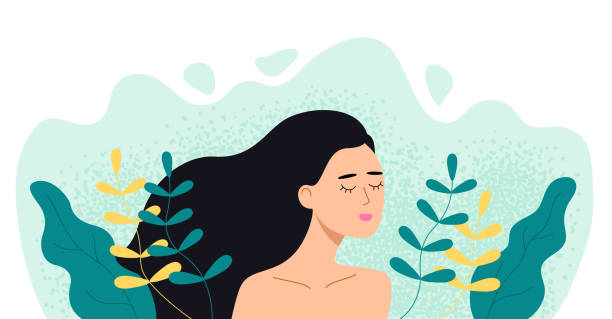 woman in plants and leaves. girl with closed eyes in nature. vector flat illustration. - young women stock illustrations