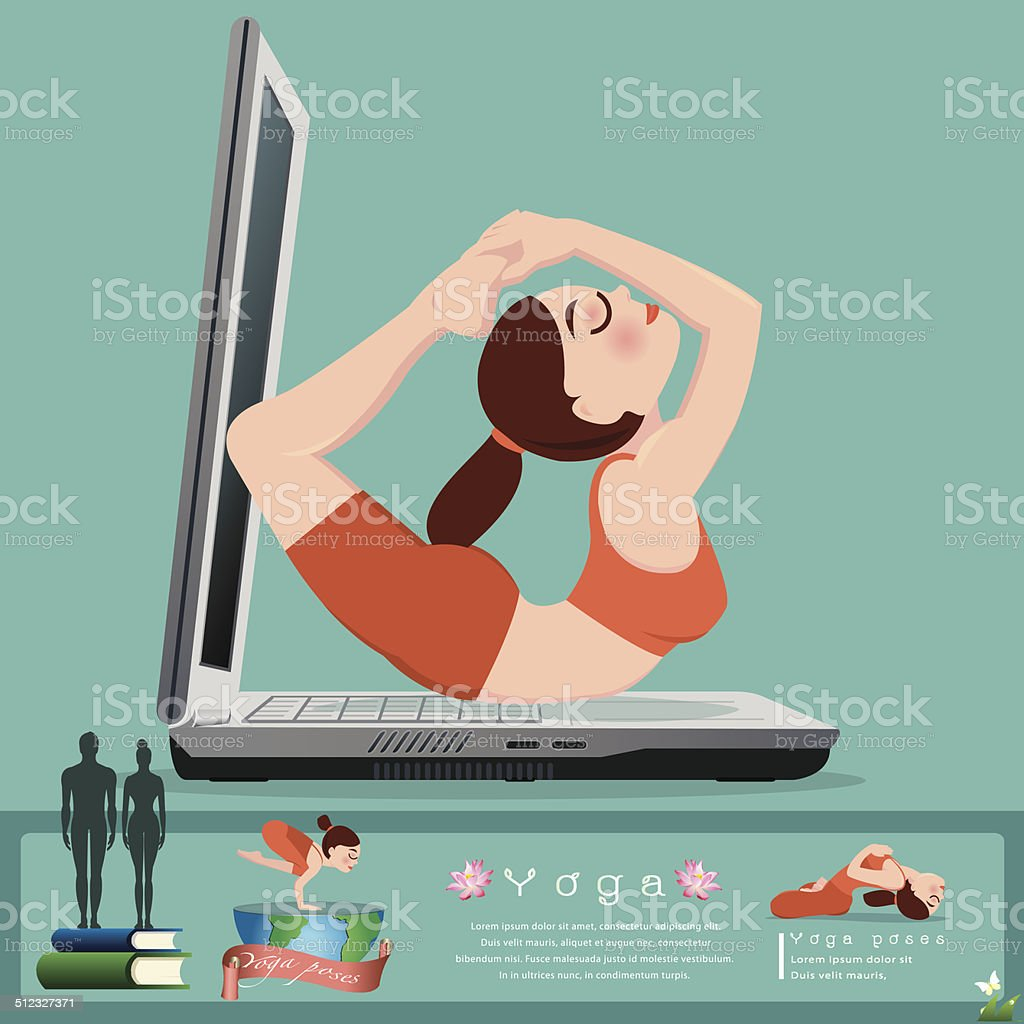 Woman in pose practicing yoga.vector illustration vector art illustration