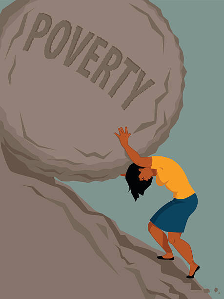 Woman in poverty Woman pushing a rock with the word poverty written on it uphill, vector illustration, no transparencies, EPS 8 minimum wage stock illustrations