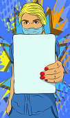 Woman in protective suit with blank banner. Comic book vector illustration of a Doctor holding a white empty paper.