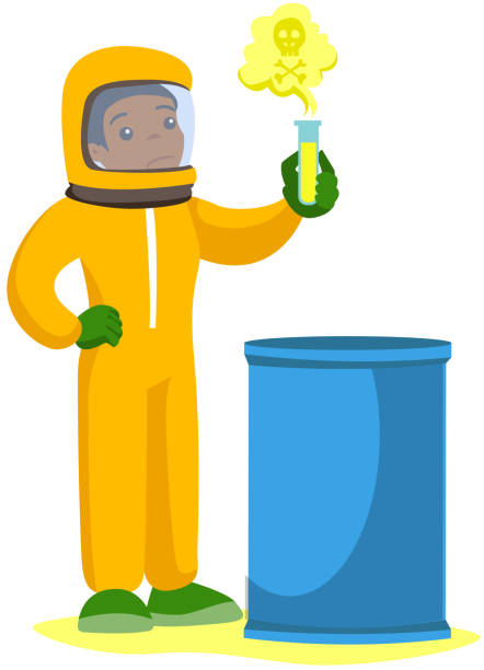 woman in radiation protective suit with test tube - cartoon of a hazmat suit stock illustrations, clip art, cartoons, & icons