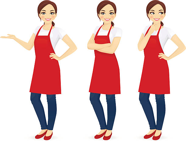 Woman in red apron Beautiful woman in red upron standing in different poses isolated apron isolated stock illustrations
