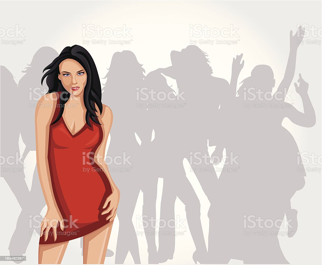 woman in red dress royalty-free stock vector art