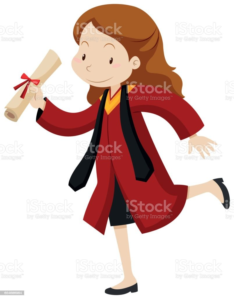 Woman In Red Graduation Gown Stock Vector Art & More Images of Adult ...