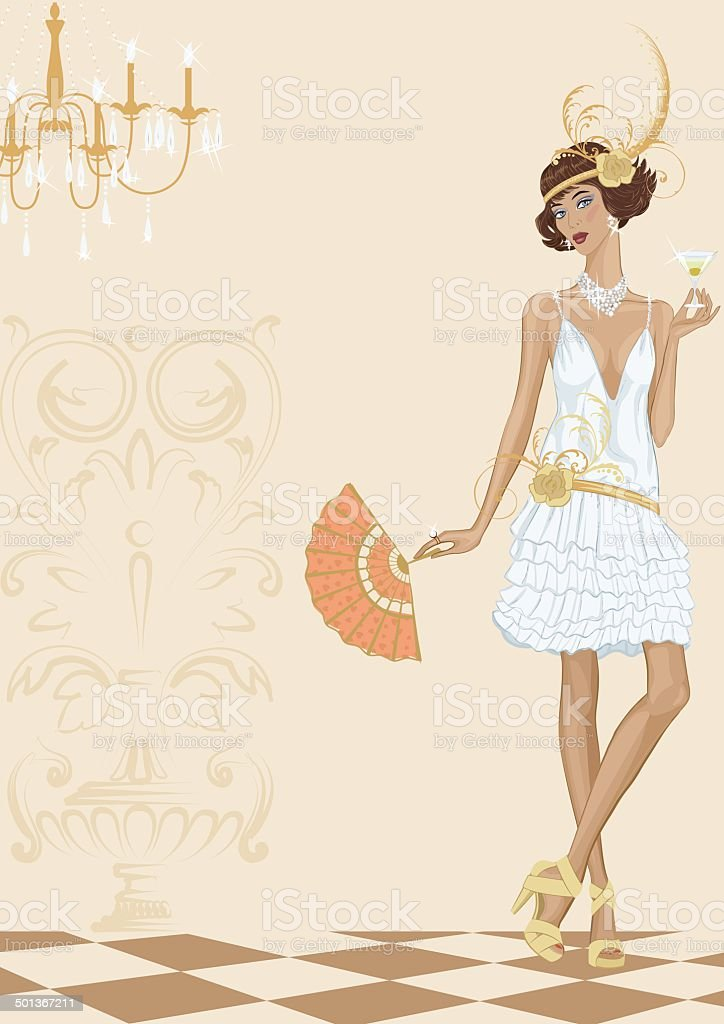 Woman in style of the twenties vector art illustration