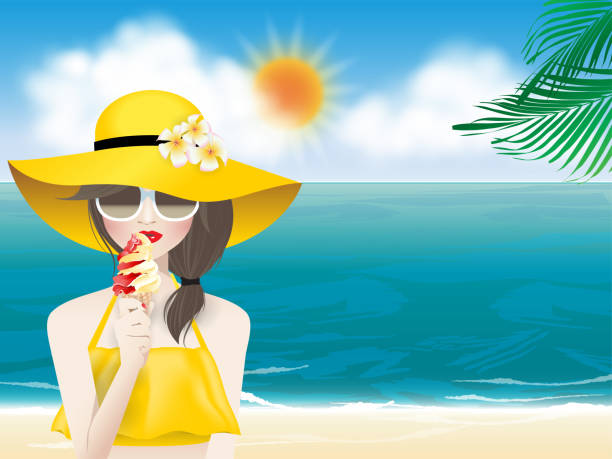 woman in summer Young fashion woman with red lips and eyewear in a yellow sun hat and yellow summer swimsuit holding an ice cream cone in hand on the summer sea beach and blue sky background. Vector illustration for summer season. seyahat noktaları illustrationsları stock illustrations