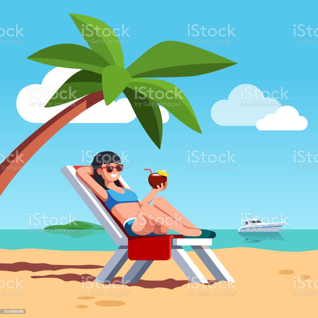 Tomando De Traje Sol Playa El Mar En Baño Mujer Ilustración knP0Ow