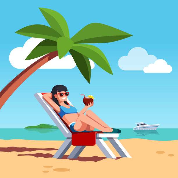 Woman in swimsuit sunbathing at sea beach vector art illustration