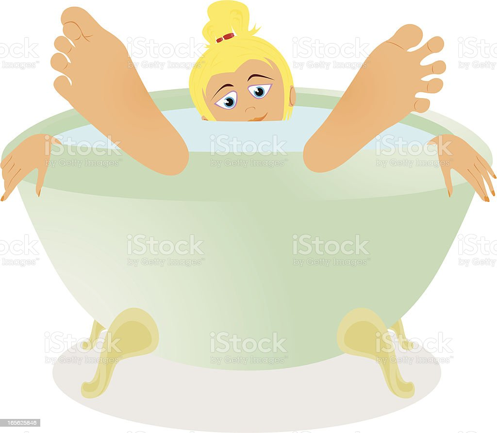 Woman in the Bath cartoon vector art illustration