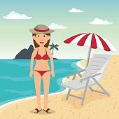 woman in the beach character vector illustration design