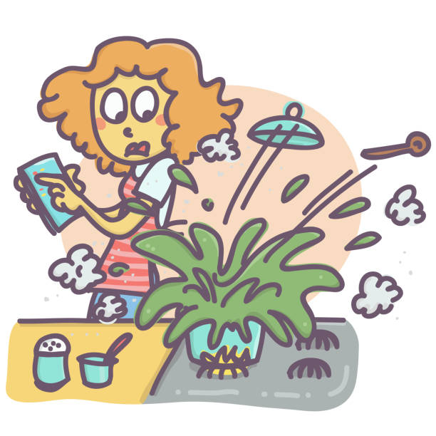 ilustrações de stock, clip art, desenhos animados e ícones de woman in the kitchen - burned cooking