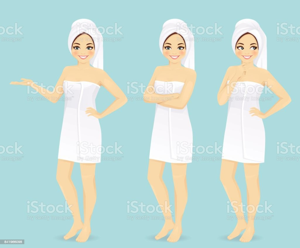 Woman in towel vector art illustration