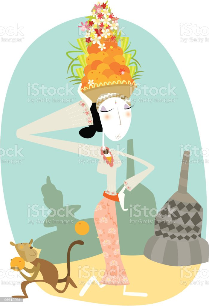 Woman in Traditional Balinese Dress - Royaltyfri Apa vektorgrafik