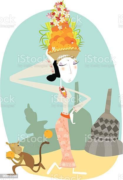 Woman In Traditional Balinese Dress-vektorgrafik och fler bilder på Apa