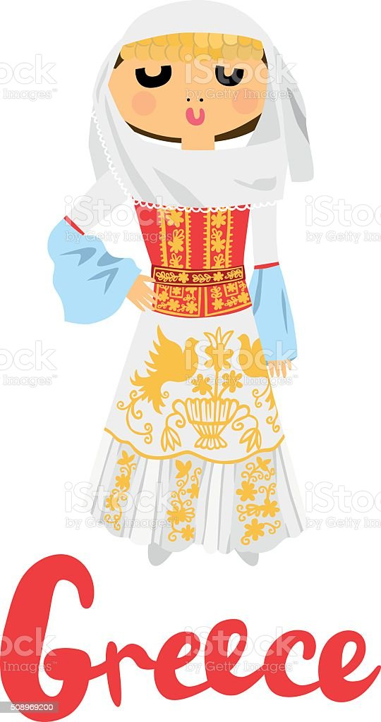 Woman In Traditional Greek Clothing Stock Illustration - Download Image Now