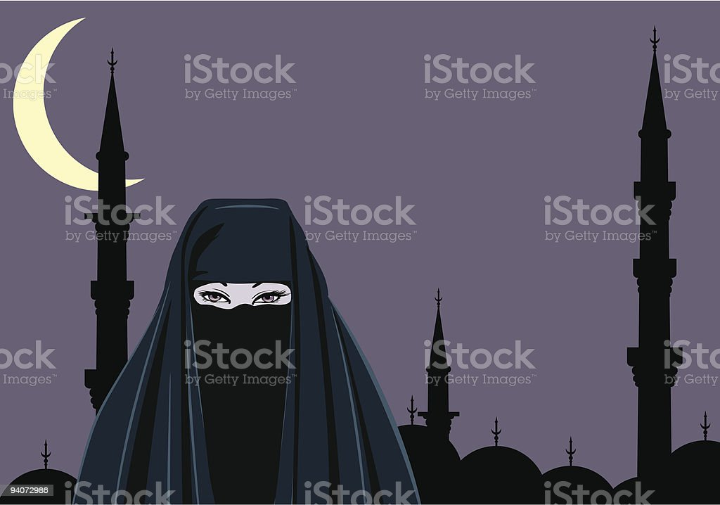 woman in traditional iranian clothing royalty-free stock vector art