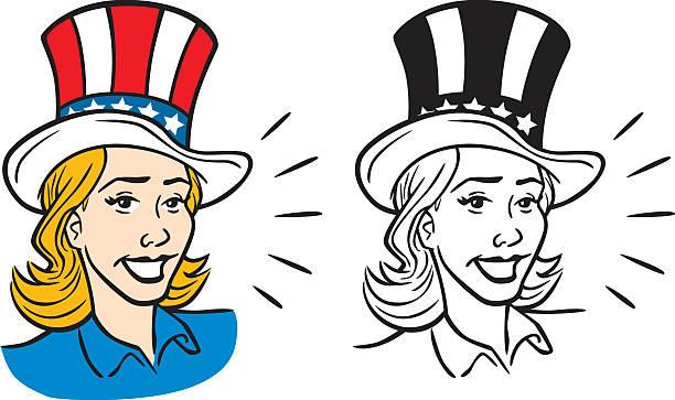Woman In Uncle Sam Hat vector art illustration