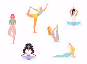 Woman in various poses of yoga. Shapes of woman doing yoga fitness workout. Set of yoga positions.
