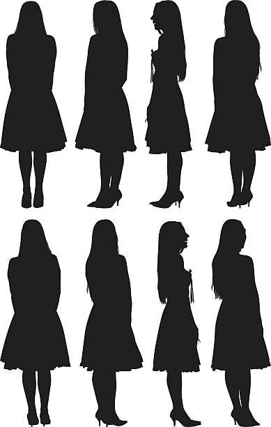 illustrazioni stock, clip art, cartoni animati e icone di tendenza di donna in diversi vista - ritratto 360 gradi