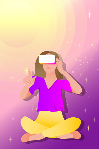 Woman in virtual reality glasses on a space abstract background.