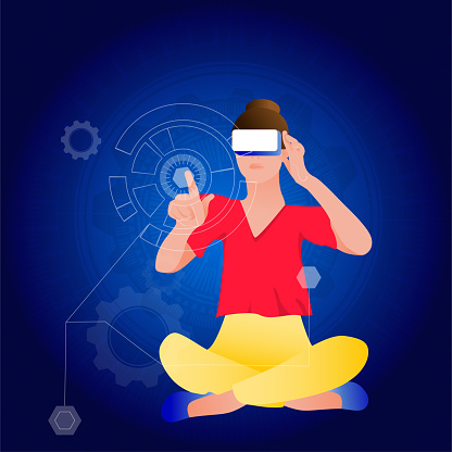 Woman in virtual reality glasses on a technological abstract background.