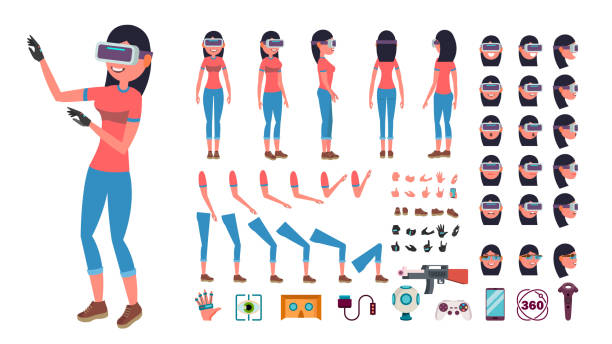illustrazioni stock, clip art, cartoni animati e icone di tendenza di woman in virtual reality headset vector. animated character creation set. 3d vr glasses. full length, front, side, back view, accessories, poses, emotions, gestures. virtual reality flat illustration - ritratto 360 gradi