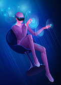 Woman in virtual reality helmet touches virtual interface buttons with her hands. Vector image of modern technologies for communication, games, creativity. Banner in blue tones. EPS10