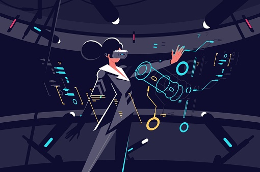 Woman in vr glasses working process clipart