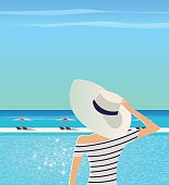 Summer vacation vector illustration.  Woman in wide-brimmed hat and striped shirt is admiring sea landscape.