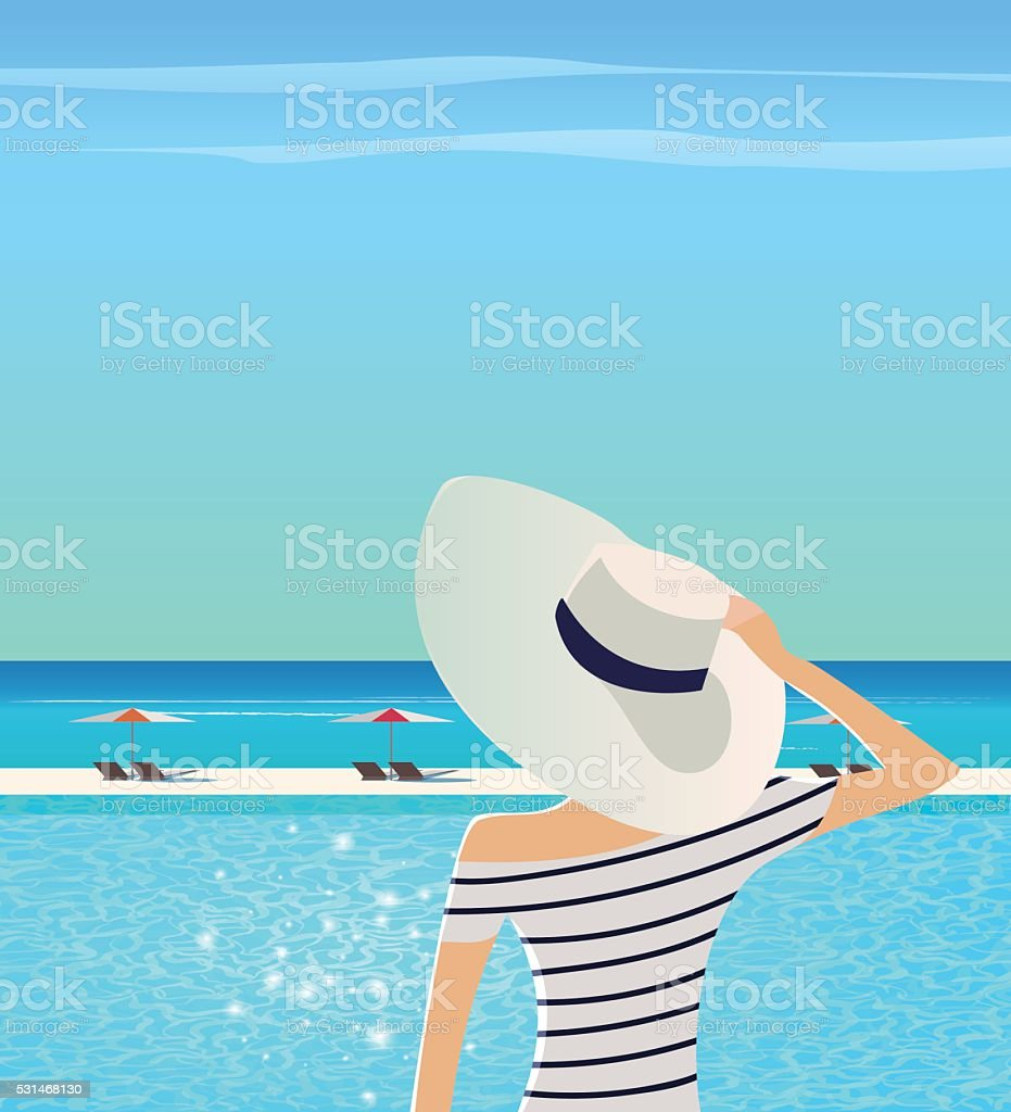 Woman in wide-brimmed hat is admiring sea. vector art illustration