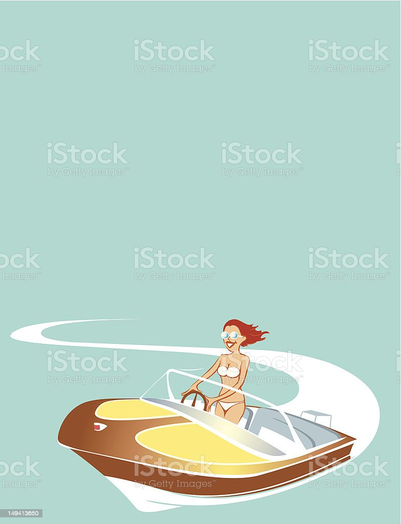 Woman in wood boat royalty-free stock vector art
