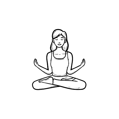 woman in yoga lotus pose hand drawn outline doodle icon