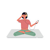 Young woman sitting in yoga meditation lotus pose and listening to music. Girl character relaxing in headphones. Flat vector illustration isolated on white background.