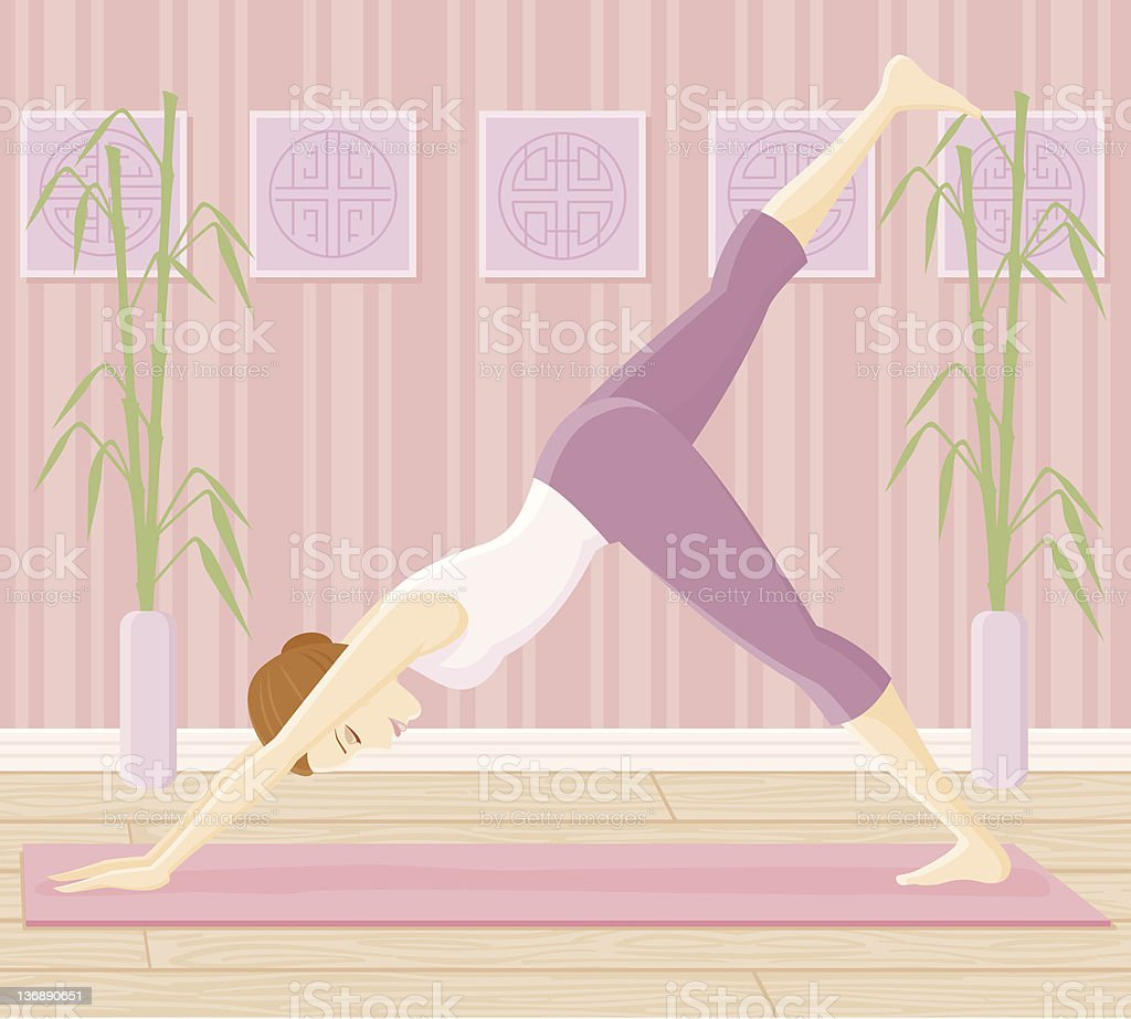 Woman in Yoga Pose - Downward Facing Dog Split royalty-free stock vector art