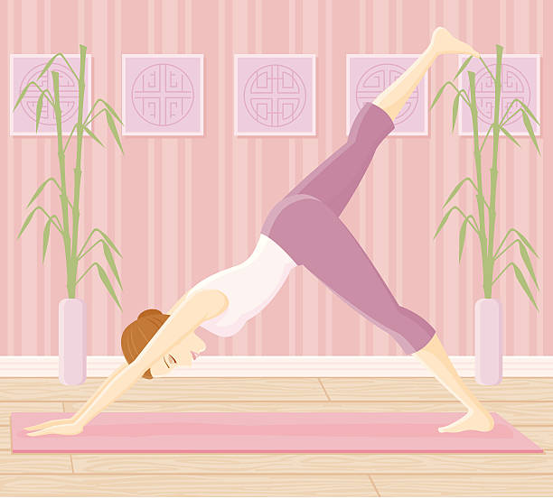 """frau in yoga-pose-nach unten schauenden hund """"split - spagat stock-grafiken, -clipart, -cartoons und -symbole"""