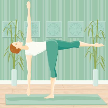 woman in yoga pose revolving half moon stock illustration