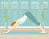 A woman in the Downward Facing Dog position (Adho Mukha Svanasana). No gradients were used when creating this illustration.