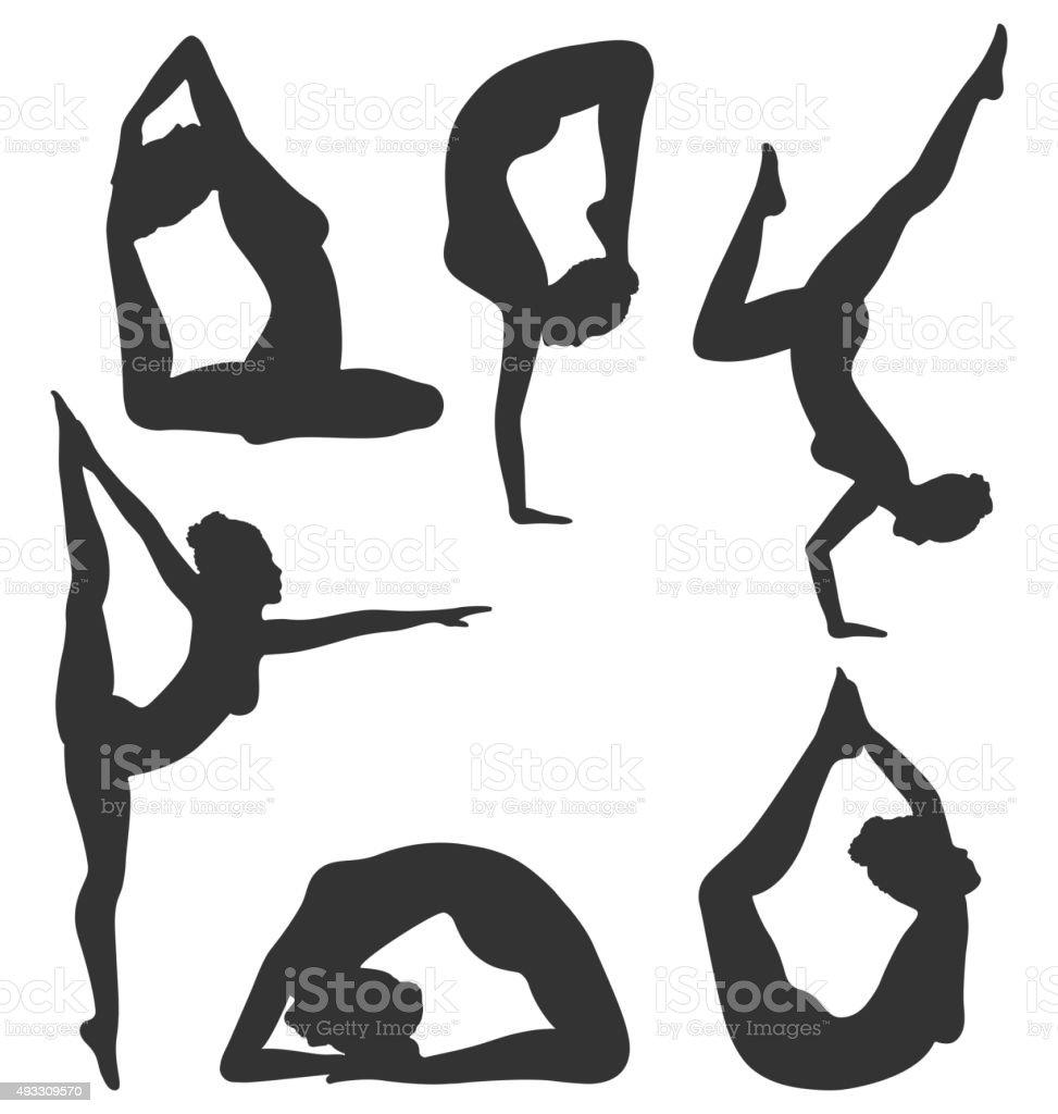 Woman In Yoga Poses Asanas Set Black Isolated On White Royalty Free