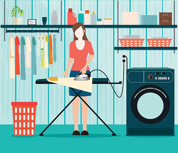 frau bügeln der kleidung auf bügelbrett. - schrankkorb stock-grafiken, -clipart, -cartoons und -symbole