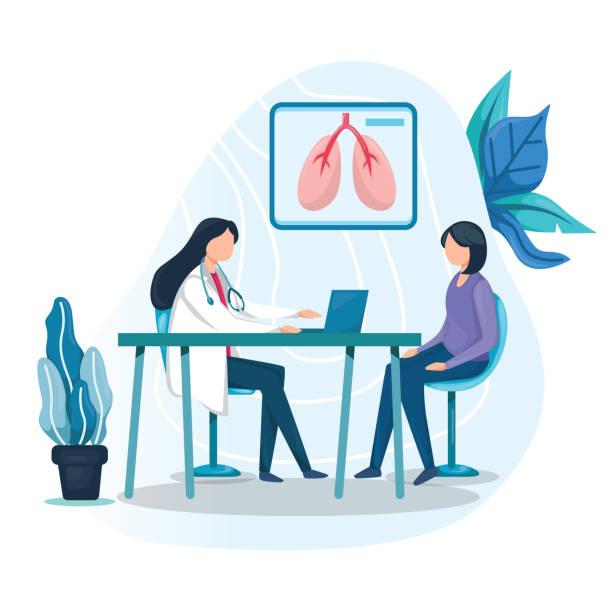 사무실에서 의사와 상담하는 여성 - doctor stock illustrations